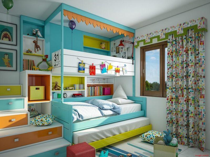 tận dụng giường ngủ làm không gian phòng học đẹp