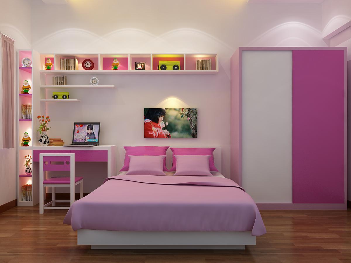 thiết kế phòng học đẹp màu hồng