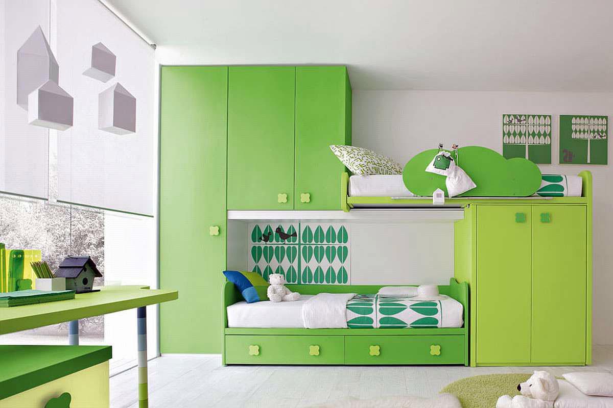 thiết kế phòng học đẹp màu xanh lá