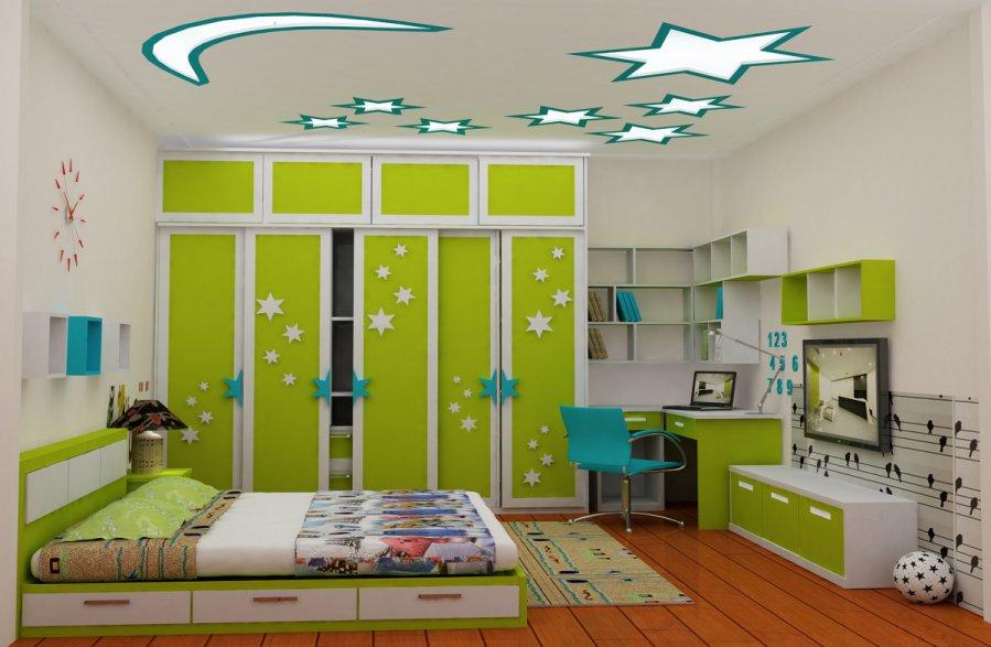 thiết kế phòng học đẹp màu xanh
