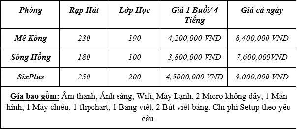 bảng giá cho thuê phòng học số 6 Thái Văn Lung