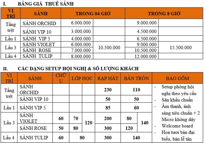 bảng giá cho thuê phòng học chi nhánh unique house