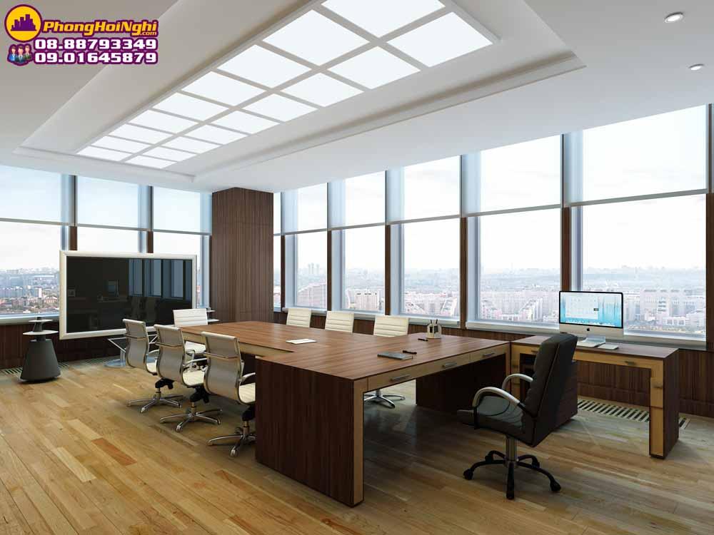 thiết kệ nội thất phòng họp có kính cường lực