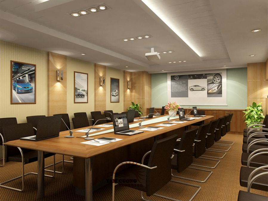 trang trí phòng họp dùng nhiều tranh ảnh