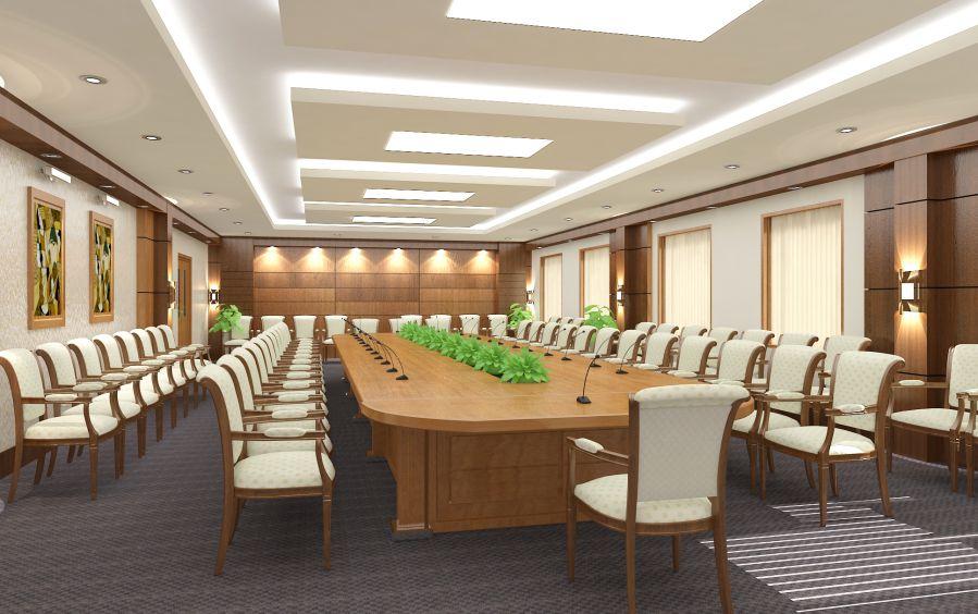 trang trí phòng họp sử dụng nội thất độc đáo