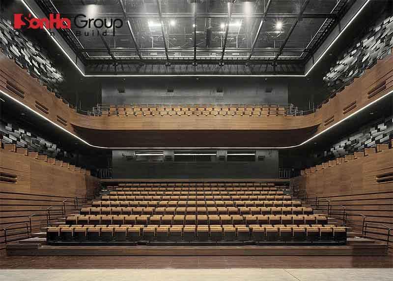 thiết kế hội trường 400 chỗ chia 2 tầng