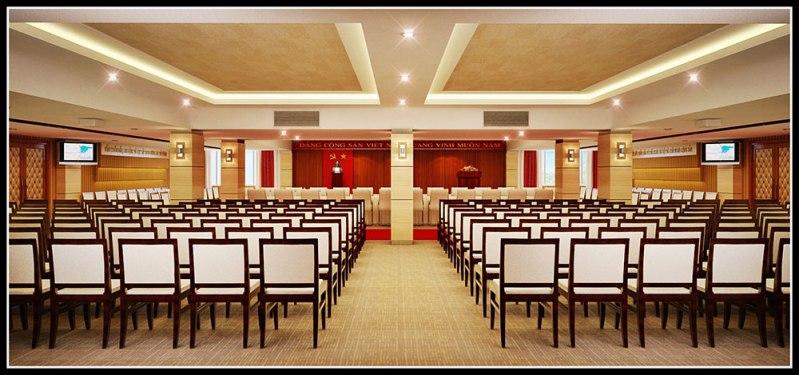 thiết kế hội trường 400 chỗ theo phong cách truyền thống