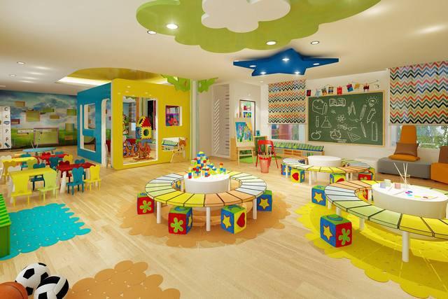 trang trí phòng học mầm non bằng bàn ghế