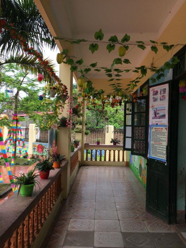 trang trí phòng học mầm non chậu cây